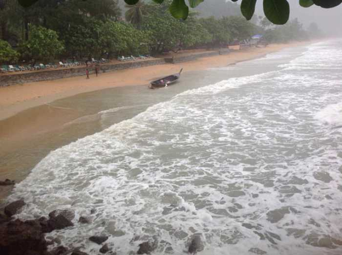 They drowned when the boat was lashed by a huge wave off the coast of Railay beach, east of Phuket