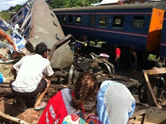 The train traveling from Nakhon Ratchasima to Khon Kaen collided with the truck at a railway crossing on Thursday morning - See more at: http://thainews.prd.go.th/centerweb/newsen/NewsDetail?NT01_NewsID=WNSOC5710300010027#sthash.1xYwDmgu.dpuf