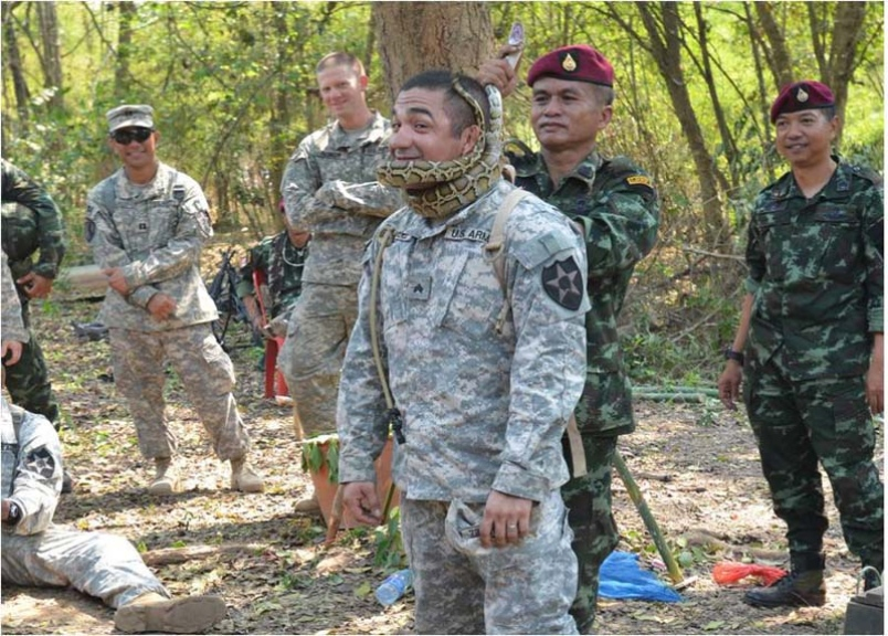 A Thai soldier shows a U.S. troop how a constricting snake native to Thailand squeezes its prey into unconsciousness. Thai soldiers shared their knowledge of the jungle with U.S. counterparts participating in the Cobra Gold exercise in Thailand.  Lindsey Elder/U.S. Army