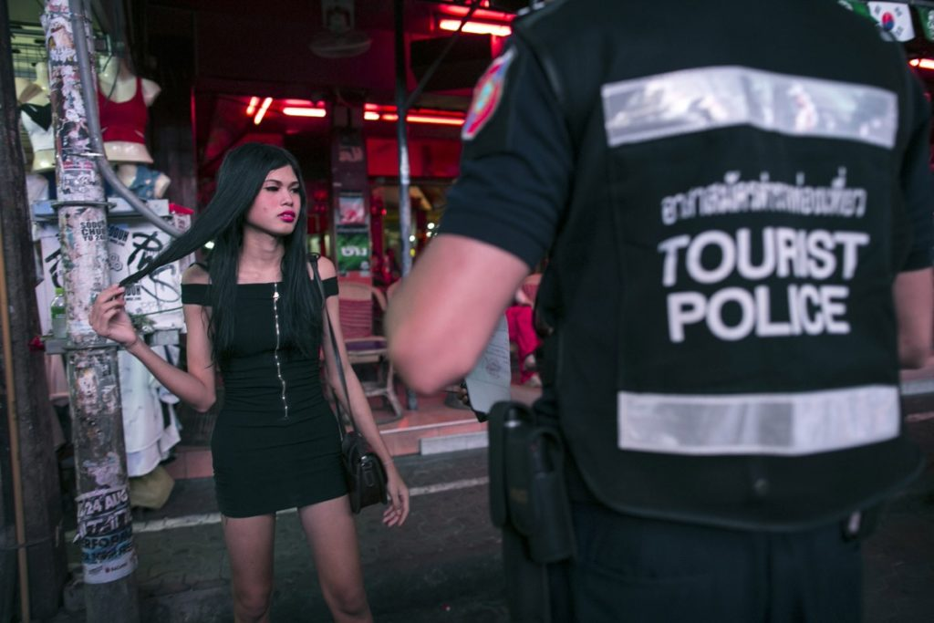 Ladyboy approached by Tourist Police on Walking Street Pattaya