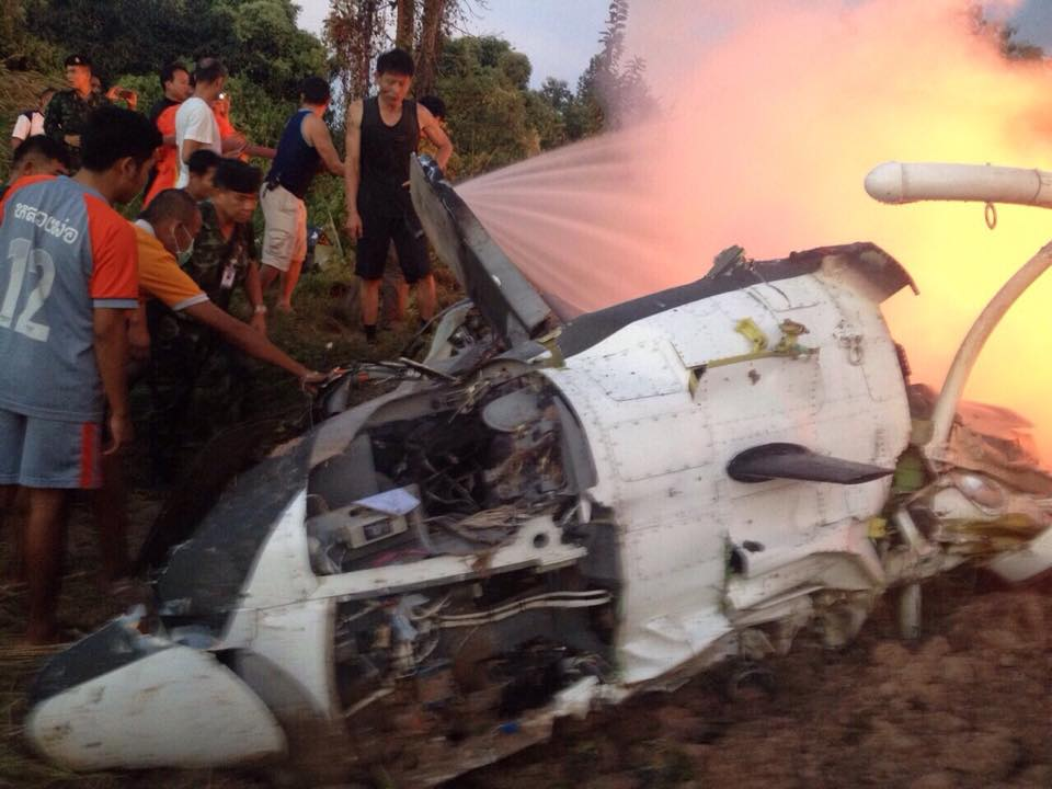 a Bell 212 helicopter belonging to the Royal Thai Army had crashed and burned at the site.