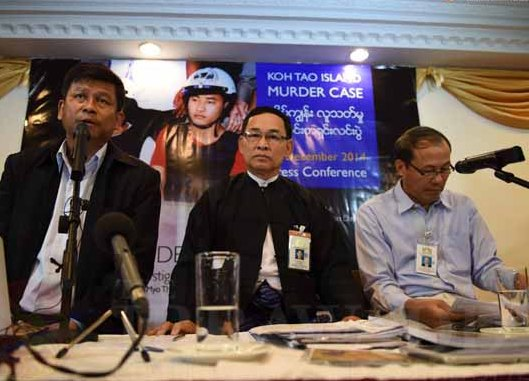 Migrant rights activist Htoo Chit, lawyer Aung Myo Thant and investigation team member Kyaw Htaung at a press conference on Thursday. (Photo: Sai Zaw / The Irrawaddy)