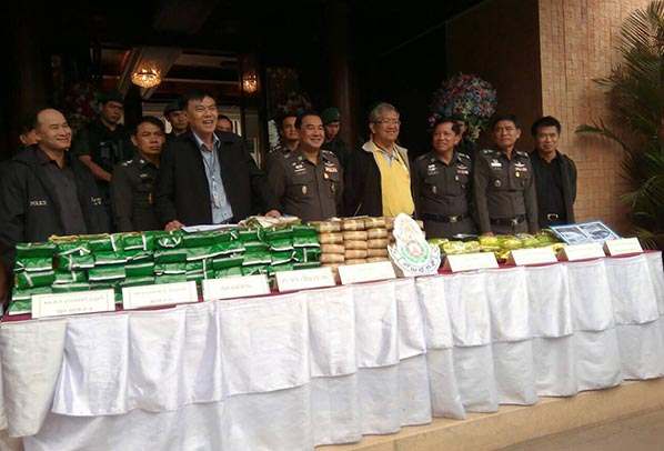 The seized yaba and crystal meth on display at a press conference in Chiang Rai