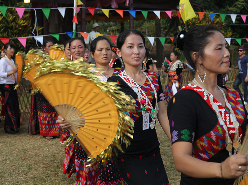 Members of northern Thailand's Kachin community were joined by visitors from Burma, as well as their Jingpo and Singpho cousins from China and India, for a Manau celebration in honor of the Thai King's birthday