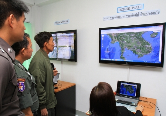 A Narcotics Control Board officer demonstrates how information on the Mekong River is tracked after the opening of the Safe Mekong Coordination Centre in Chiang Mai on Thursday. (Photo by Tawatchai Kemgumnerd)