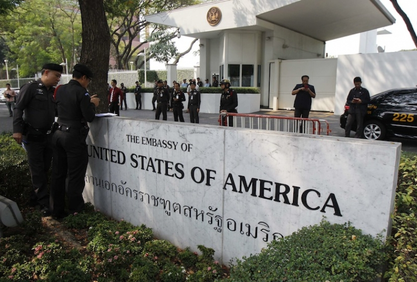 Police stand guard outside the US embassy in Bangkok - See more at: http://www.themalaymailonline.com/world/article/us-tells-thailand-to-restore-democracy-or-alliance-is-over#sthash.7xtLQR6m.dpuf