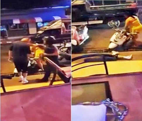 After trading kicks the tourist looks down at the driver's leg and is knocked flat on his back by a single punch to the chin