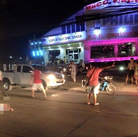 French lady was killed crossing the road outside Supot Electrical store in Bophut