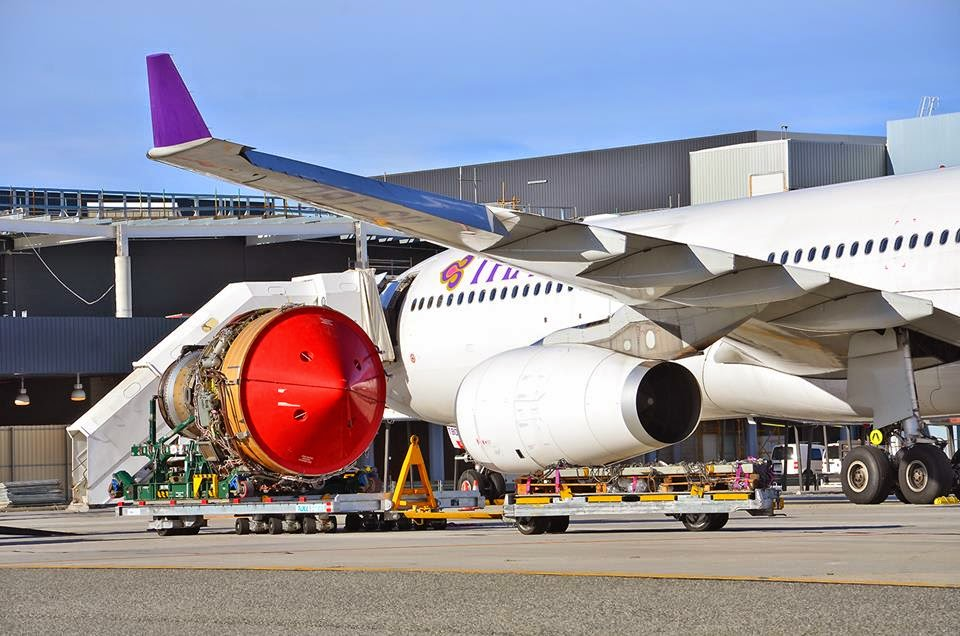 Thai Airways A330-343X HS-TBD departs for Bangkok as flight TG484D after engine change at Perth Intl Airport
