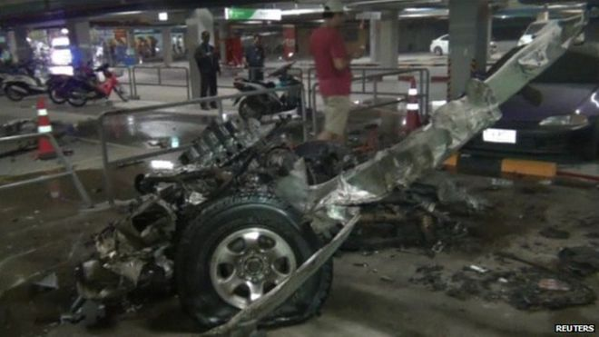 the bomb had destroyed most of the pickup truck and damaged a few other vehicles that were parked nearby at the mall