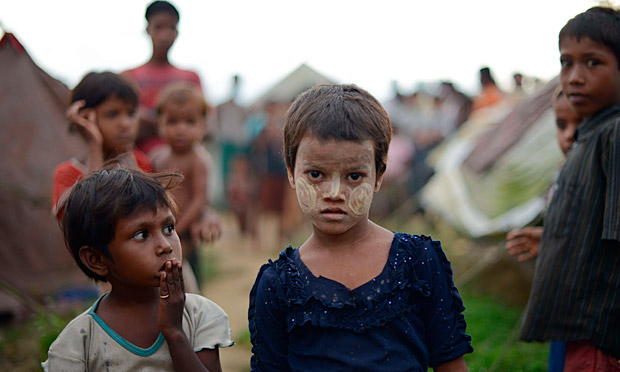 Muslim Rohingya children at a camp for displaced people near Sittwe