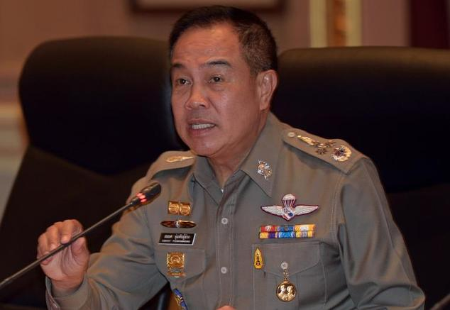 Thai national police chief Somyot Poompanmoung speaks during a press conference at Royal Thai Police Bureau