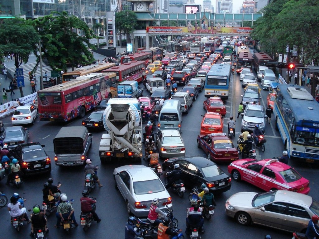 Vehicles are locked in gridlock on a road in downtown Bangkok, Thailand.
