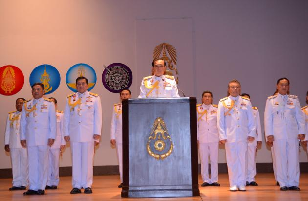 General Prayuth Chan-ocha, flanked by other members of the National Council