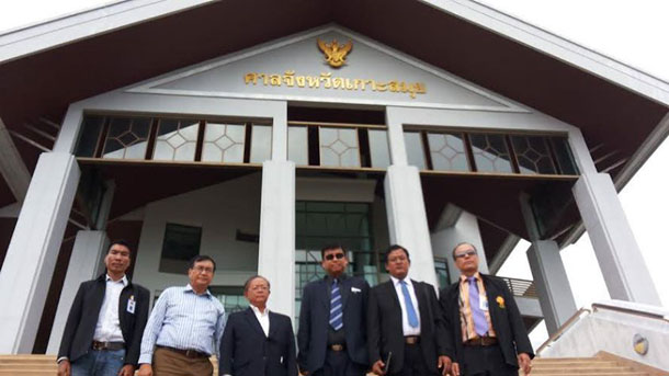The Burma Embassy's special team, which is working on the Koh Tao case. are seen outside of the Koh Samui Court on Wednesday.