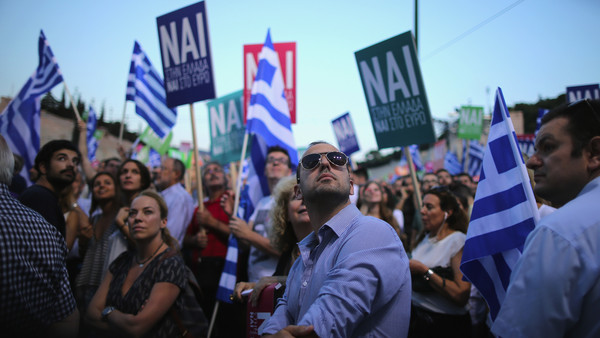 Supporters of the Yes campaign attend a rally at the Olympic stadium in Athens