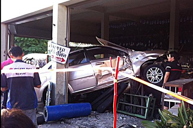 Police said Somnuek Saritnet, 74, suffered a seizure behind the wheel and pressed down on the accelerator uncontrollably  (Photo from Ruamjai Rescue Foundation Facebook page)