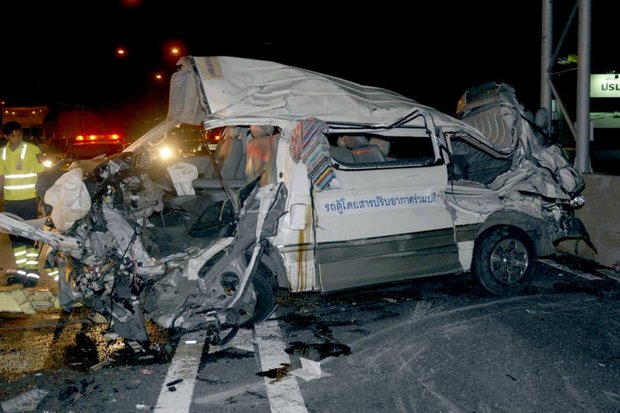 Eight people died and seven badly injured inside the passenger van.