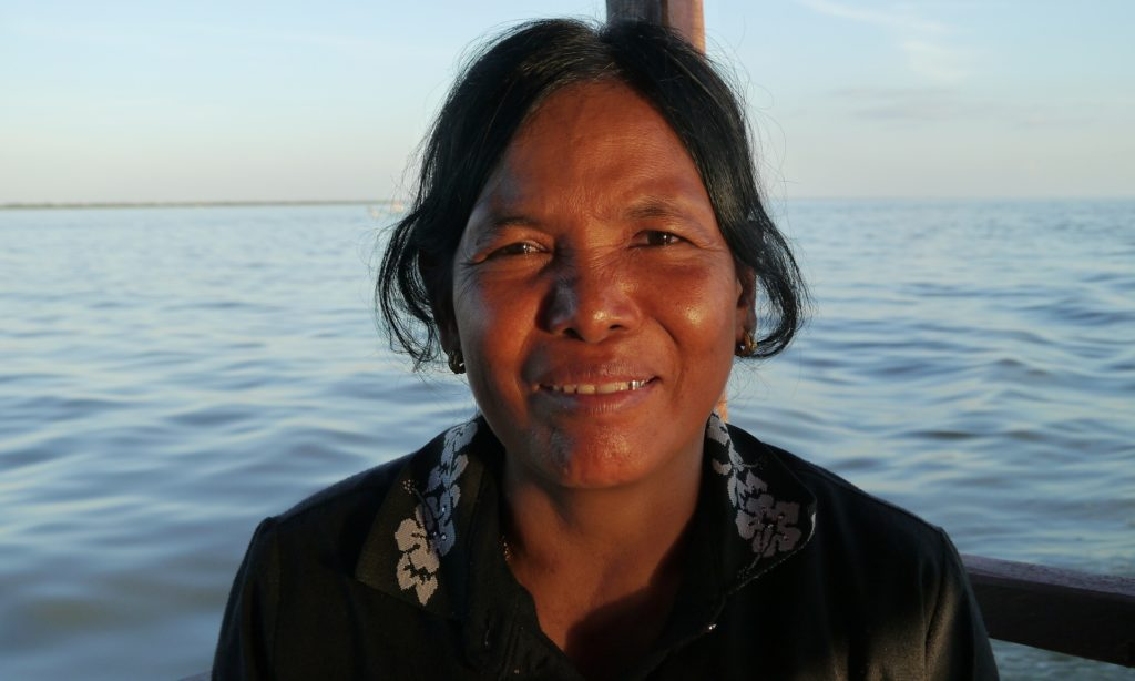 Vey Kuang, 54, who has lived and fished at Tonlé Sap lake all her life