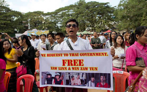 Protests have also been staged at border crossings, and over the weekend Burma's powerful and influential army chief called for the case to be reviewed.
