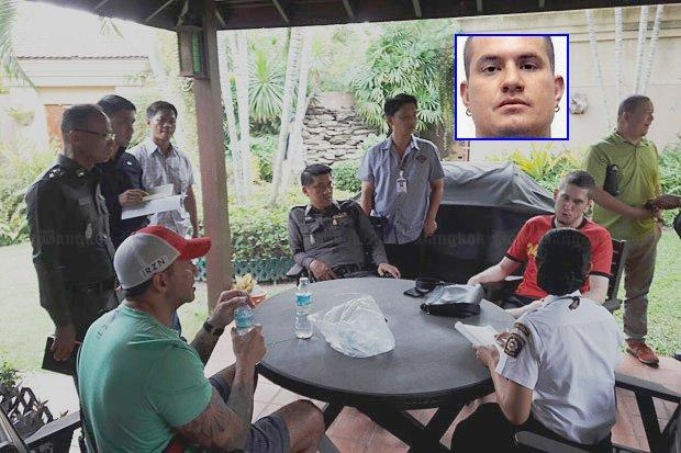 Pattaya police interview friends of Australian Wayne Rodney Schneider (inset), who was abducted from his Pattaya home early Monday.