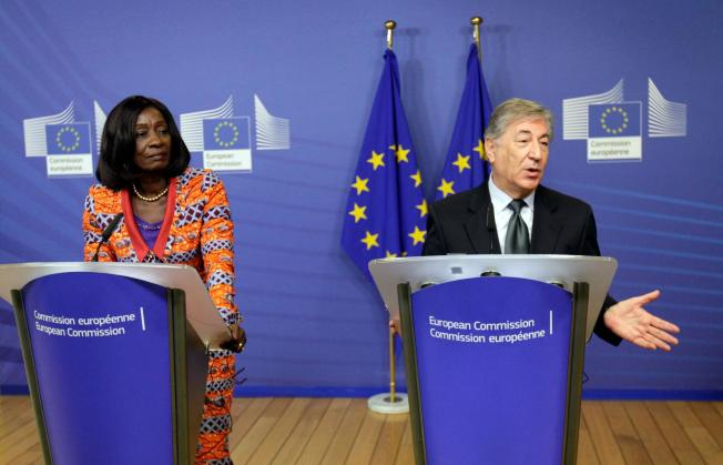 European Union Commissioner for Fisheries Karmenu Vella, right, and Ghana's Minister of Fisheries Sherry Ayittey participate in a media conference at EU headquarters in Brussels