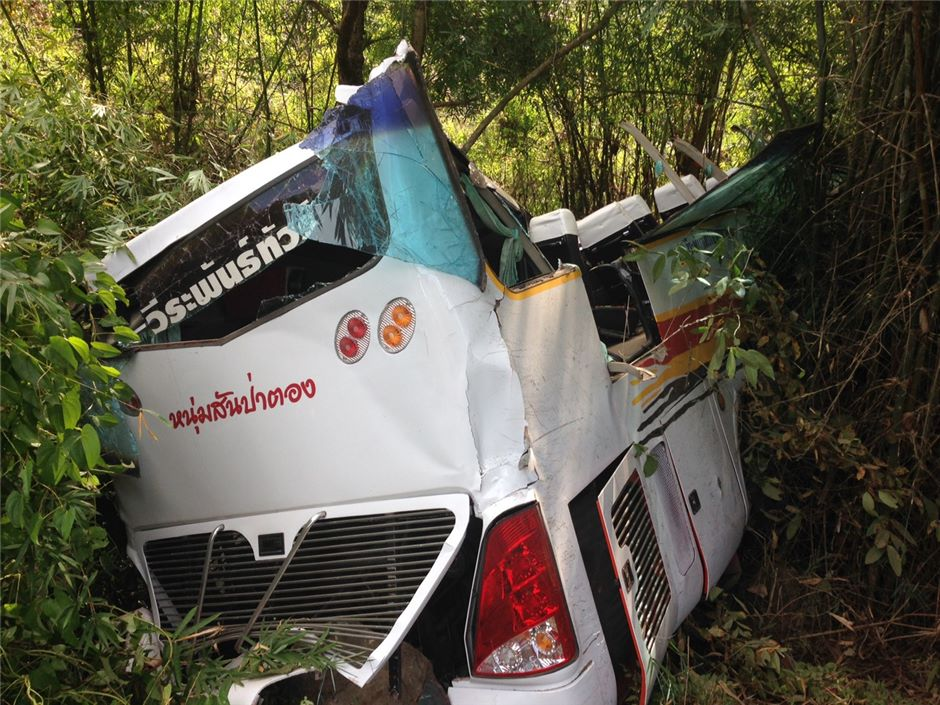 Twelve Malaysian Chinese tourists were killed and 11 of their tour companions injured as their bus, steered by a rogue driver who was fleeing from an earlier accident, ran off the road in Chiang Mai province