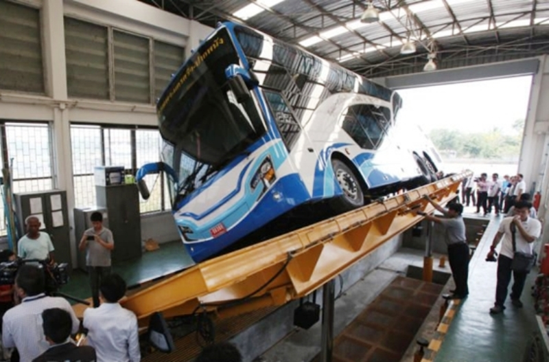 Doubledecker bus gets a 30 degree slope test by transport Department
