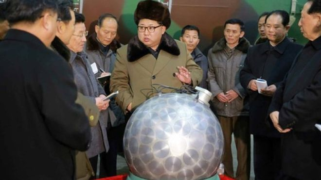 North Korea's state media showed a picture of Kim Jong-Un inspecting the purported nuclear warhead