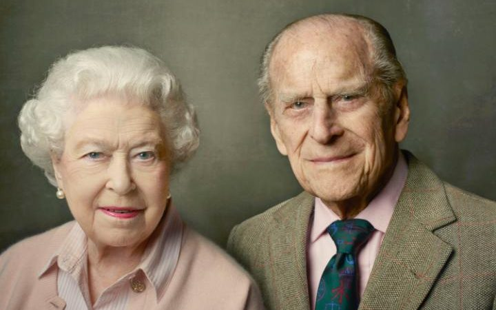 This official photograph released by Buckingham Palace to mark her 90th birthday shows Queen Elizabeth II with her husband, The Duke of Edinburgh
