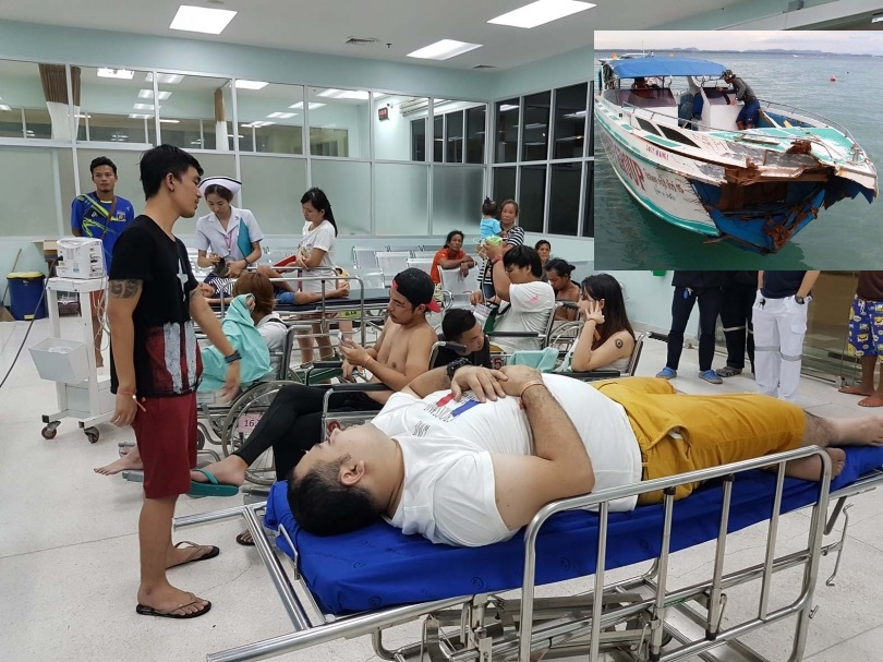 A speedboat with about 30 tourists was heading for the mainland but unexpectedly crashed into an anchored boat.