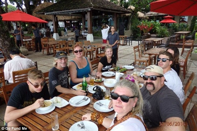 55-year-old Yandina man Rex Tickell (right side of table with moustache, wearing sunglasses and cap) died while on holiday in Thailand on July 2. Photo: Supplied