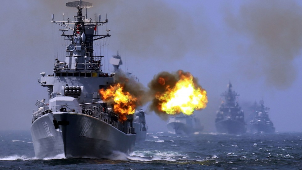 China Central Television showed video of Friday's drills, conducted by three fleets of the People's Liberation Army Navy.
