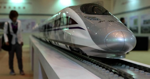 A model of a high-speed train on display at an exhibition last year. Photo: Bangkok Post