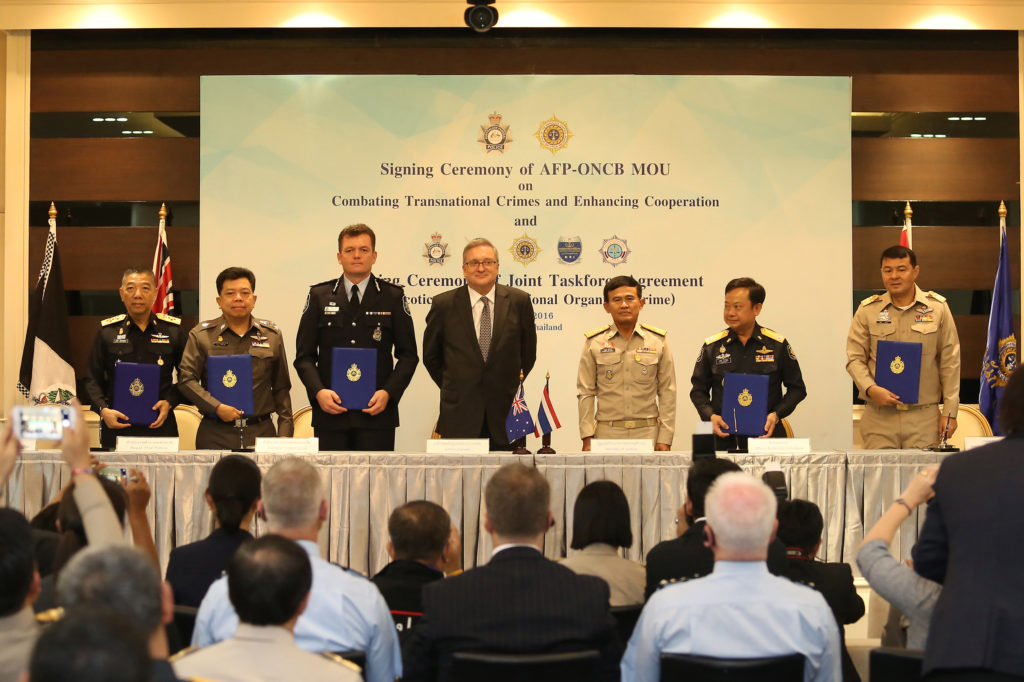 General Paiboon Koomchaya, Minister of Justice, Thailand together with H.E. Paul Robilliard co-chaired and witnessed the Signing Ceremony of the Memorandum of Understanding (MoU) between the Office of the Narcotics Control Board (ONCB) and the Australian Federal Police (AFP)