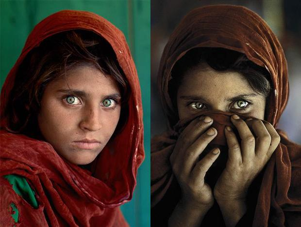 """""""The Afghan girl"""" when Steve McCurry's photograph of her wearing a red scarf and staring directly at the camera became world famous in the '80s."""