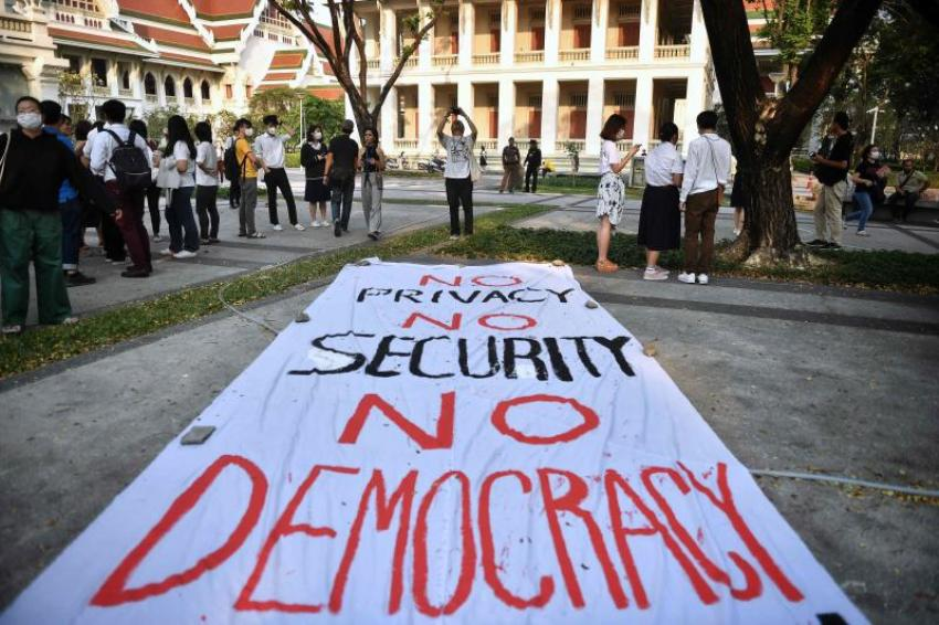 Pro-democracy students gather in a 'flash mob'