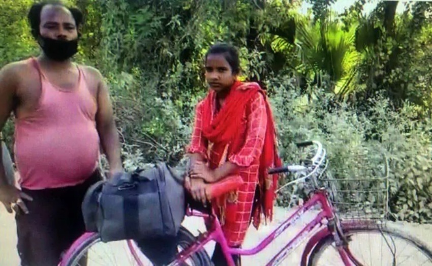 Girl in india Rides Bicycle 1,200 Kilometers Home With Disabled Dad