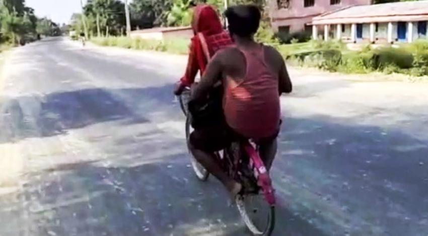 India Girl Rides Bicycle 1,200 Kilometers Home With Disabled Dad